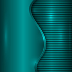 Vector abstract turquoise background with curve and stripes