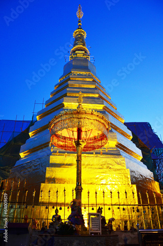 Wat Phra That Cho Hae in Phrae Province Thailand at Night Time