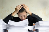 businesswoman frustrated and helplessly at pile of papers poster