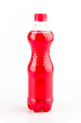 Strawberry bottle drinkg isolated white background