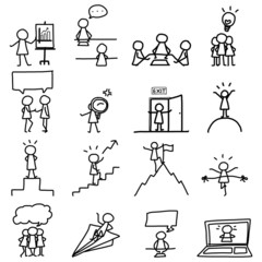 set of hand drawing business icons