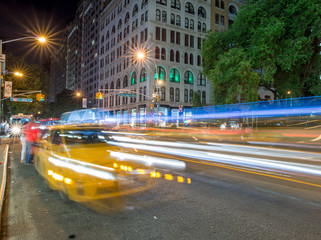 Taxi lights in New York City near Union Square