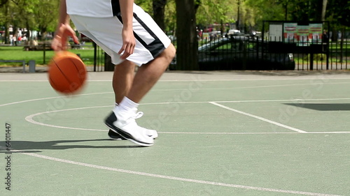 Fancy dribbling by a basketball player
