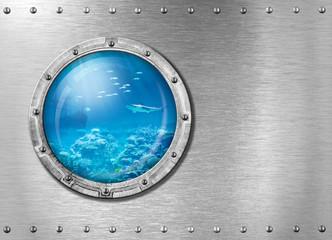 submarine metal porthole underwater