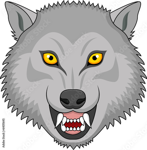 Angry wolf head tattoo