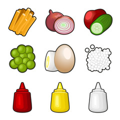 Food products icon set