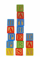 HAPPY FATHERS DAY toy blocks isolated on white