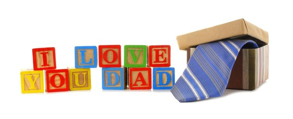 I LOVE YOU DAD toy blocks and gift box with tie over white
