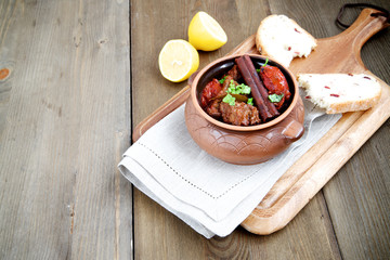 Stew with cinnamon lemon