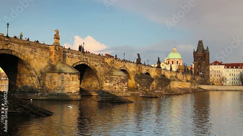 View from Kampa on Charles Bridge in Prague