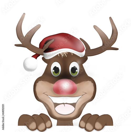 Rudolph with Christmas Hat and Happy Smile