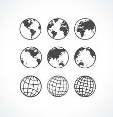 Vecrot globe icon set.
