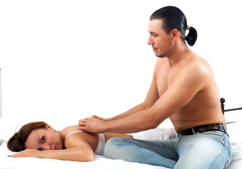 Man making massage to his wife