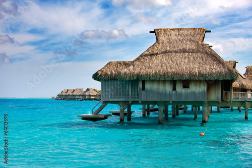 houses on piles on sea. Maldives.
