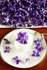 Homemade ice cream with violets