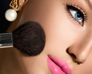 Make-up Applying closeup. Cosmetic Powder Brush for Makeup