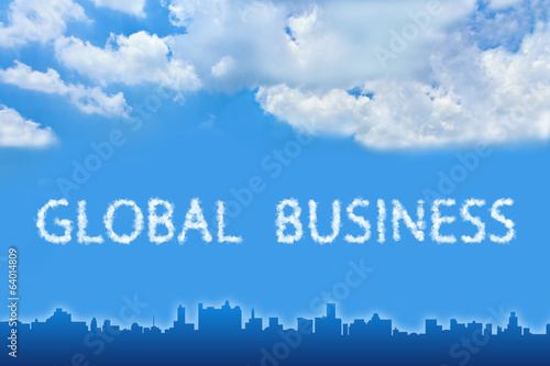 Global business text on cloud