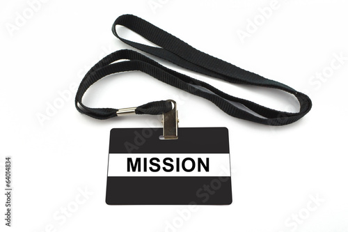 mission badge isolated on white background