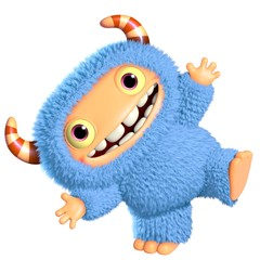 3d cartoon blue monster