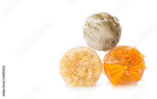 Dried flowers in ice on white background.