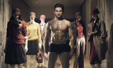 Handsome man as the human mannequin