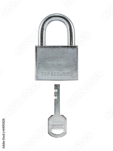 Metal lock and key.