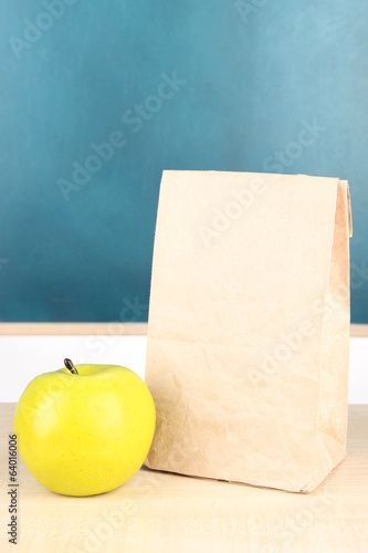 School breakfast on desk on  board background