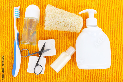 Hygienic equipments, on color background