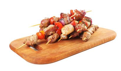 Pork kebab isolated on white