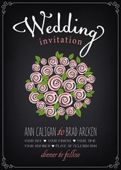 Wedding invitation card. Bridal bouquet