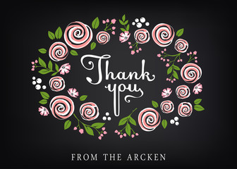 Thank you card with floral background