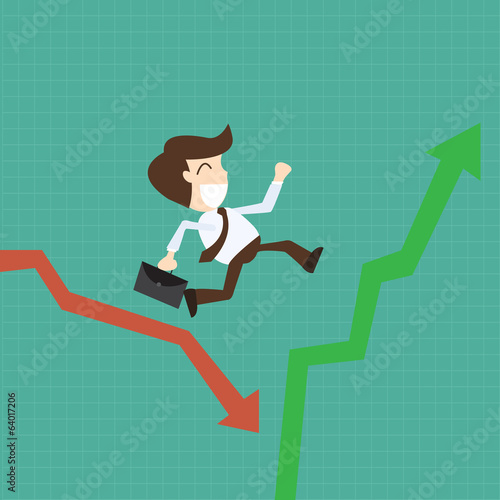 businessman running in graph