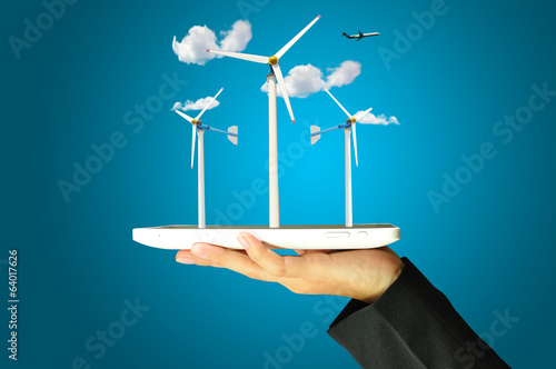 Female hand present wind turbine power generator