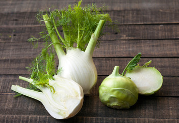 Fresh organic fennel and kohlrabi full of vitamins and minerals