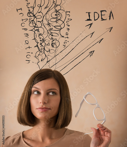 Business woman converting experience information knowledge ideas