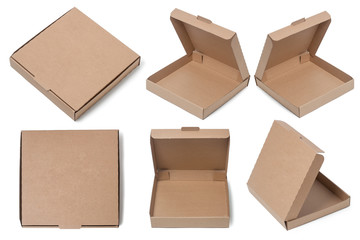 Collection of a Pizza Boxes, Cardboard Boxes, Isolated