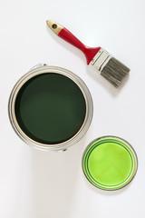 Grün - Pinsel und Farbdose