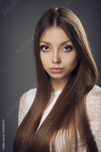 Portrait of a girl with long hair