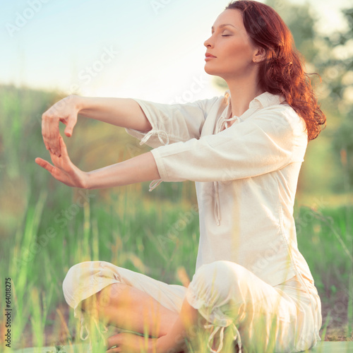 Stretching woman in outdoor exercise