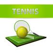 Tennis ball and green grass field emblem