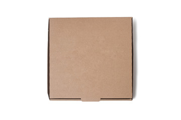 Top View of Cardboard Pizza Box, Isolated