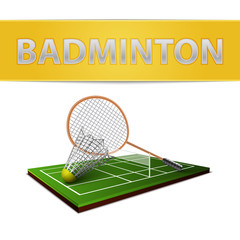 Badminton shuttlecock and racket emblem