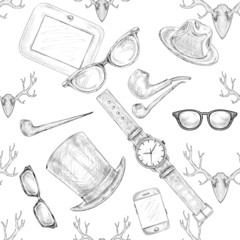 Seamless hand drawn hipster accessories pattern