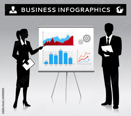 Flipchart presentation template with business people