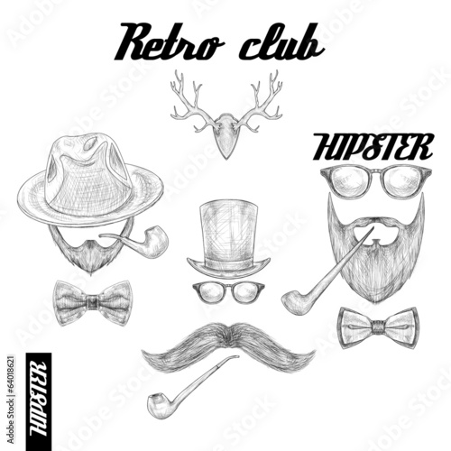 Retro hipster club accessories
