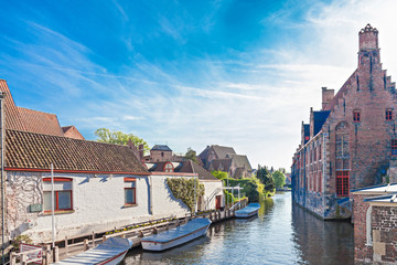Canal with boats in Bruges