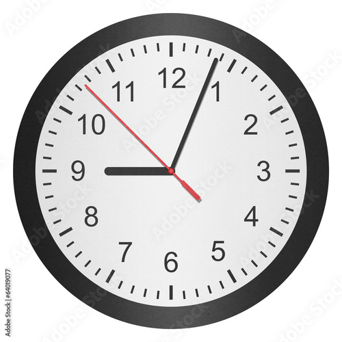 paper cut of time clock, watch is number with hour hand and minu