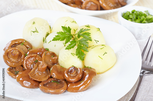 Pickled orange mushrooms with boiled potatoes