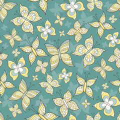 Vector pattern with stylized butterflies