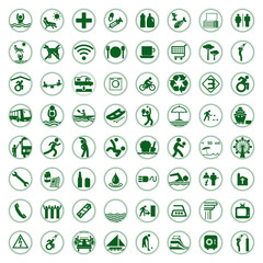 Travel and Tourism green signs and symbols vector illustration